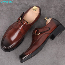 Round Toe Handmade Monk formal shoes men Genuine Cow Leather oxford shoes Mans Footwear Wedding Office Dress Shoes round toe man monk straps chelsea shoes british designer genuine leather handmade footwear formal men s martin ankle boots js35