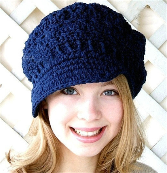 Womens Knit Newsboy Hat