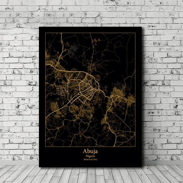 Abuja Lagos Nigeria City Map Poster Black and Gold Nordic Style Canvas Print Home Decor No Frame
