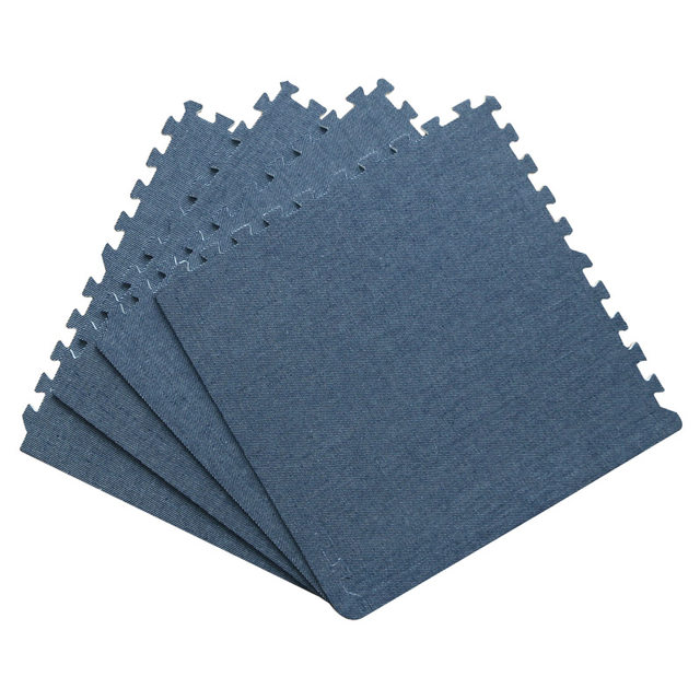 9pcs Home Office Carpet Jeans Material Eva Foam Mats Non Toxic Puzzle Floor Mat Baby Enviromental Interlocking Tiles