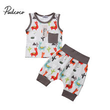 edacb47760cc 2Pcs Stylish Baby Boy Girl Summer Clothes Cute Cartoon Alpaca Print  Sleeveless Shirt Tops Short Floral Pants Infant Outfit Set