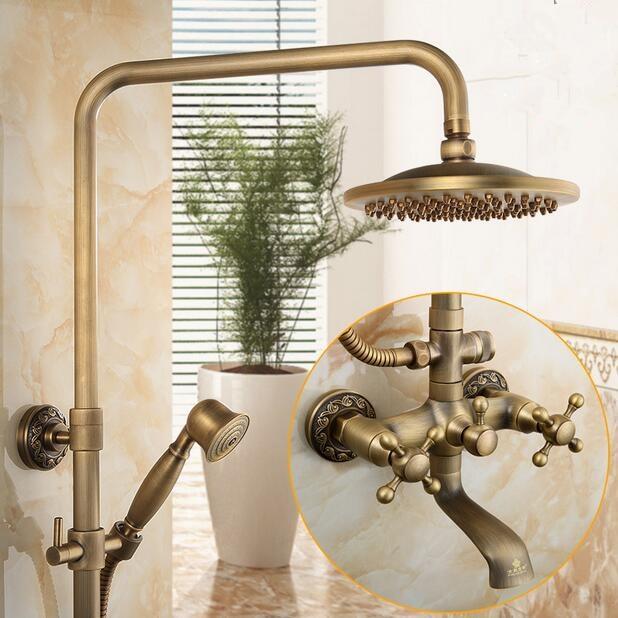 Antique shower set antique brass rain fall shower faucet water with brass head shower with wall brass hand shower