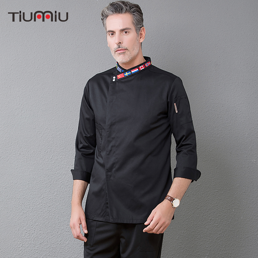 New Chef Jacket Long Sleeve Embroidery Collar Restaurant Top Coffee Shop Bakery Waiter Barber Work Uniforms Wholesale Overalls