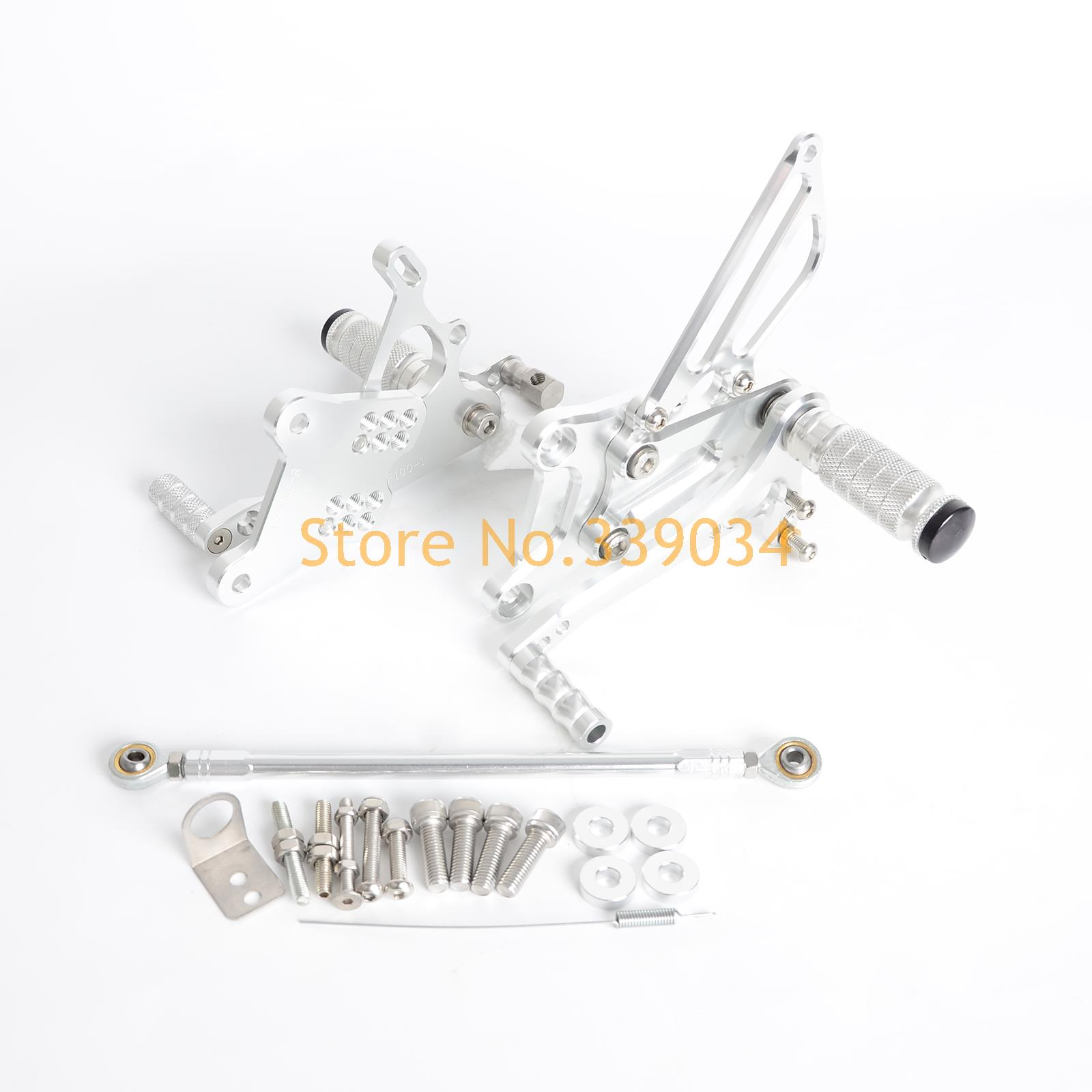 Silver CNC Billet Racing Adjustable Foot Pegs Rear Sets For Honda VFR400 NC30 RVF400 NC35-in Foot Rests from Automobiles & Motorcycles    1