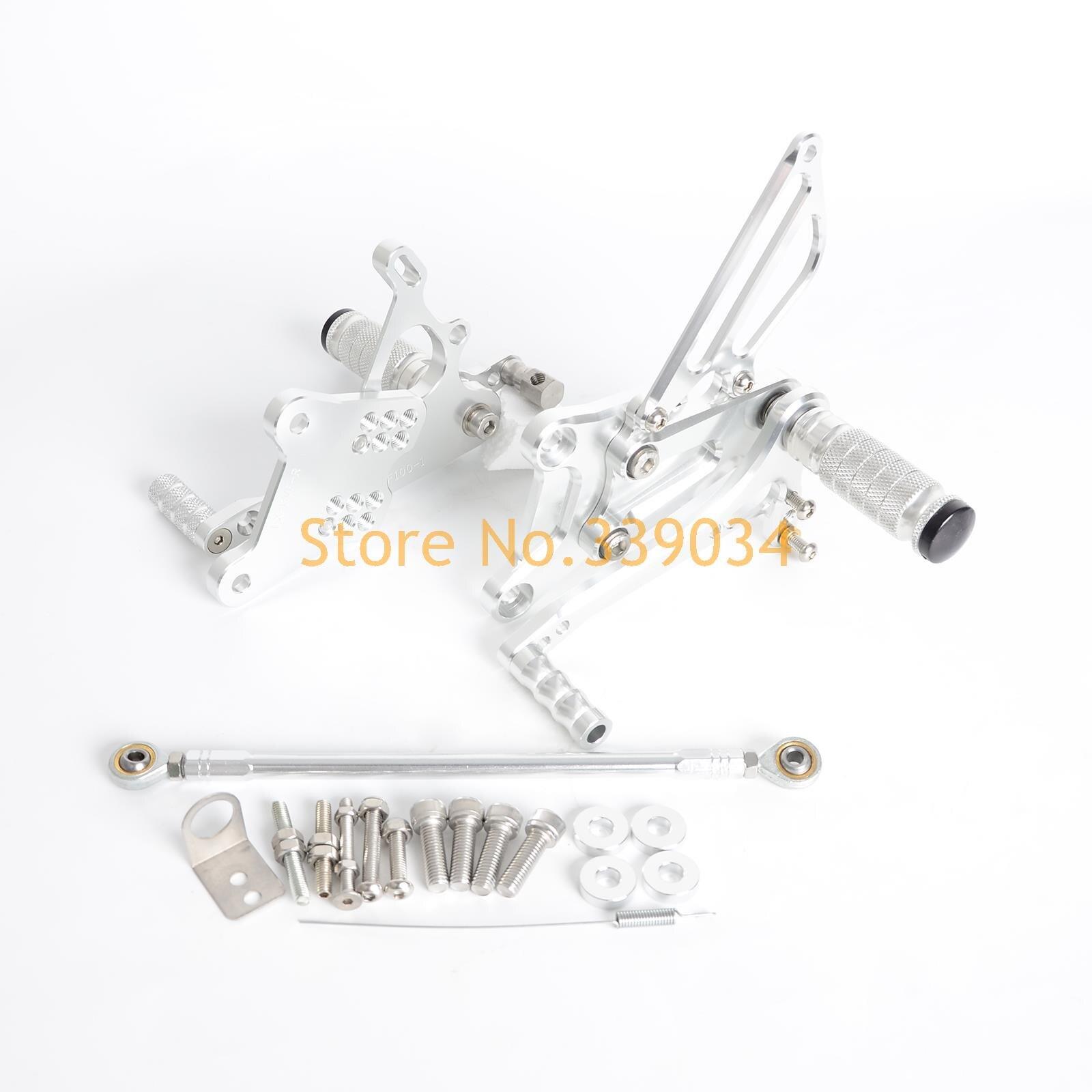 Silver CNC Billet Racing Adjustable Foot Pegs Rear Sets For Honda VFR400  NC30 RVF400 NC35