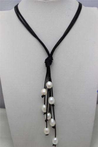 fast Black Genuine Leather white Freshwater Pearl necklace Alloy 20 Beauty NEW