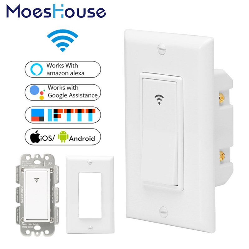 WiFi Smart Wall Light Switch Smart Life/Tuya Mobile APP Remote Control No Hub Required Works With Amazon Alexa Google Home IFTTT