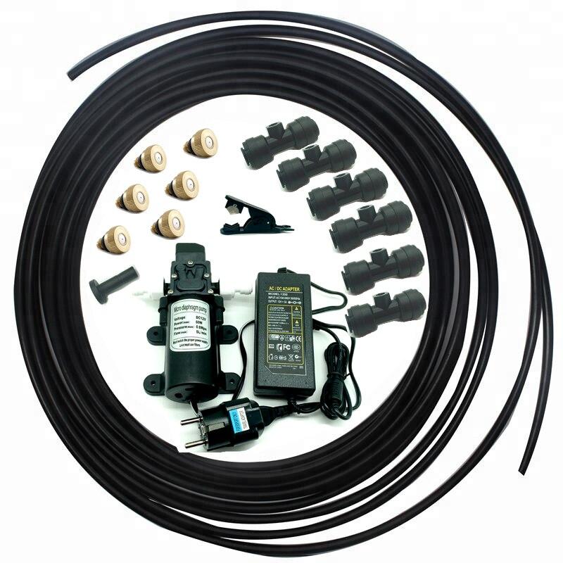 A260 Selbst pumpe DC 12 v wasser sprayer system mit 6 stücke nebel düsen und armaturen für garten DIY bewässerung nebel produkte-in Sprühgeräte aus Heim und Garten bei  Gruppe 1