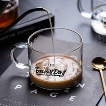 Стеклянная чашка с кружкой креативная буква чайная чашка для десерта, завтрака чашка подарок