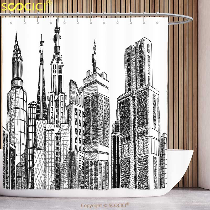 Unique Shower Curtain Fabric Urban Arhitecture Sketch Skyscraper Metropolis Grunge Handdrawn Modern City Scenery Black White