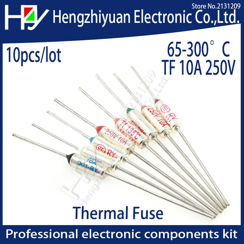 65~300C 240C thermal guards Celsius Degree TF Thermal Fuse 10A 250V Micro Mini Electrical Temp Thermal Fuses Temperature Cutoff 20 pcs ry series metal 192 celsius 250v 10a cutoffs thermal fuse