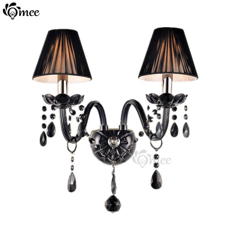 ФОТО 2 Lights Black Crystal Wall Lamps Candle E14 Bulb Double Heads cristal Wall Lights Black Silk Fabric Lampshade Bedroom Lighting