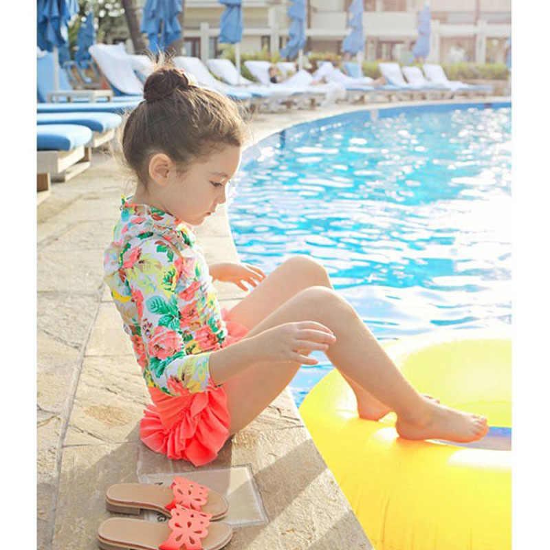 Kostiumy kąpielowe dziewczyny z długim rękawem nadruk