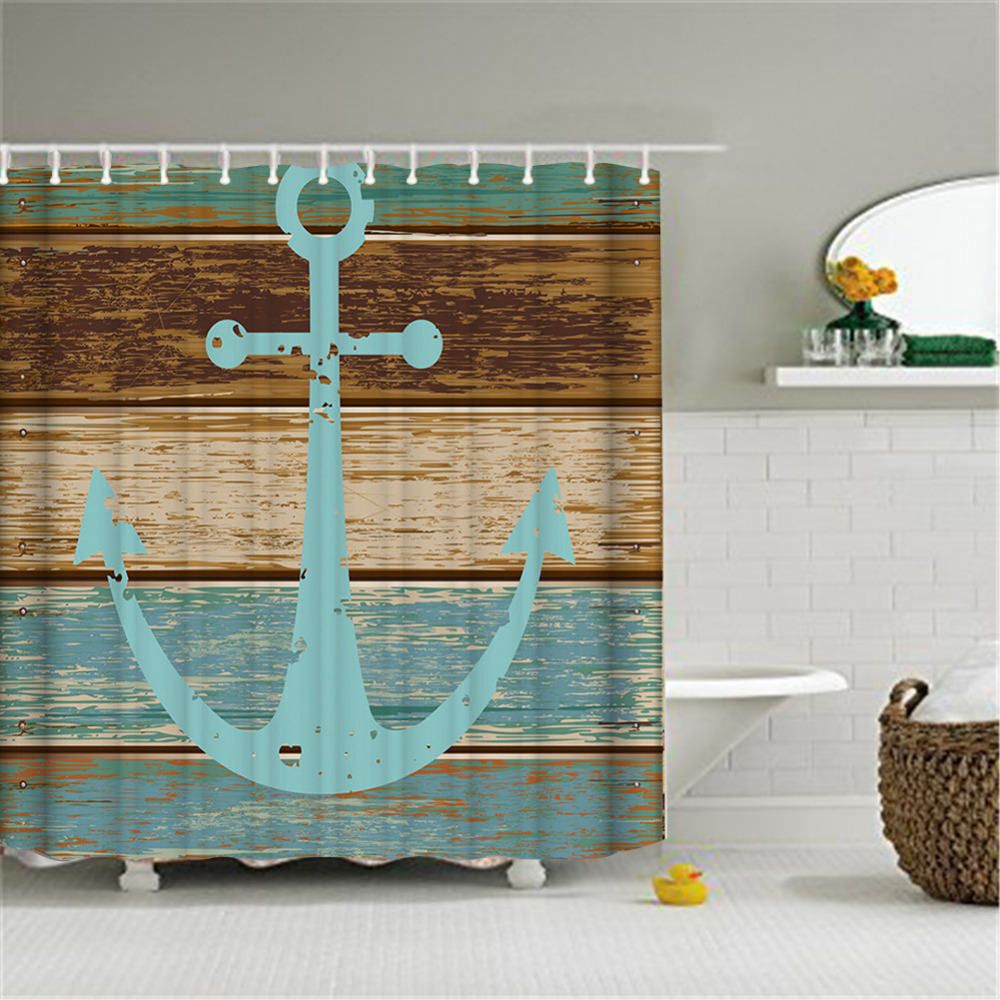 ... Shower Curtain Rustic Wood font b Nautical b font Anchor Pattern