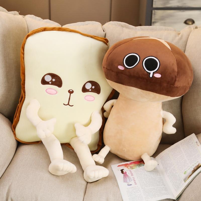plush toy lovely cartoon toast mushroom hand feet stuffed doll cushion pillow