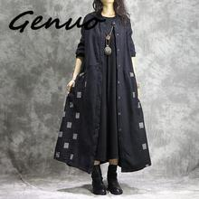 Genuo Women Cotton Linen Trench Vintage Autumn Coats Patchwork Button 2019 New Fall Casual Clothing Black