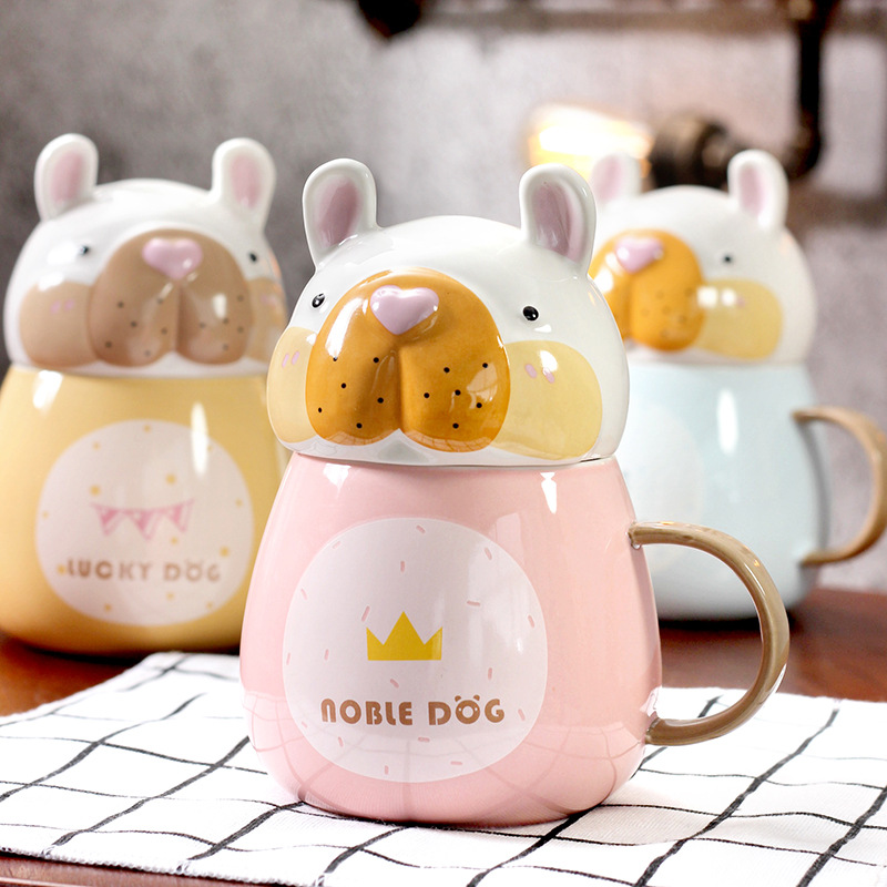New creative cute Puppy ceramic cup Cartoon mug with lid Breakfast milk coffee cup Novelty gifts Childrens cups