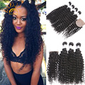 8A Malaysia Kinky Curly Virgin Hair With Closure Malaysai Silk Base Closure With Bundles Malaysia Curly Weave Human Hair