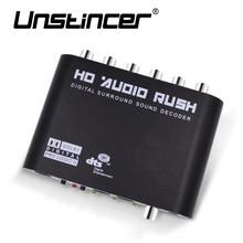 UNSTINCER 5.1 Channel Digital Sound Decodificador De Audio Converter Gear Surround Sound de Rush Jugadores Decodificador Hd Para PC DVD Auriculares