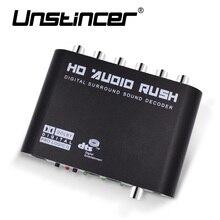Unstincer 5.1 канальный цифровой звук декодер для аудио конвертер Шестерни Surround Sound Раш Декодер HD плееры для PC DVD наушников