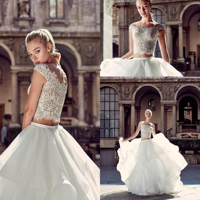 2016 New Summer Beach Two Pieces Wedding Dress Beaded Sheer Crew Neck Cap Sleeves Button Back 2016 Bridal Gowns WB7