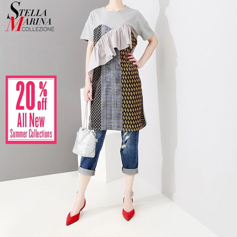 01701d3169f Новый 2019 корейский стиль для женщин летние хипстерские длинная футболка  геометрические узоры печатных футболка Уникальные футболки