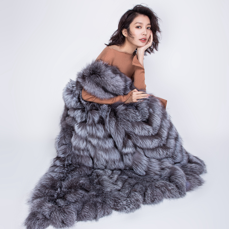 Real Fox Fur Vest Waistcoat Stripe 105cm Women Sleeveless Coat Female Winter Genuine Red Silver Fox Fur Coat