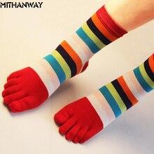Женские носки с пальцами, разноцветные женские спортивные носки в полоску с круглым вырезом, женские хлопковые Гольфы с пятью пальцами, милые, 35-39, 1 пара