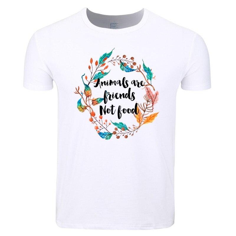 Asian Size Men Women Print Vegan Vegetarian Animals Are Friends Not Food T-shirt O-Neck Short Sleeves Summer T-shirt HCP4162