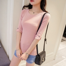 Half Sleeve High Elastic Knitting T-Shirt For Women