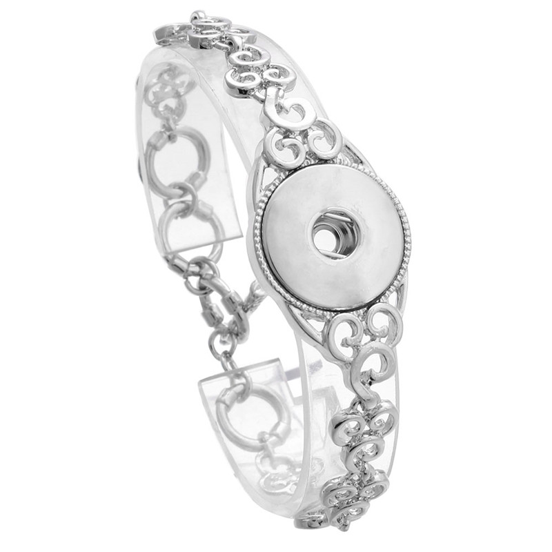 High Quality Antique Silver Plated Vintage Flowers Chains Snap Bracelet Bangles Fit 18MM Snap Buttons DIY Jewelry ZE357