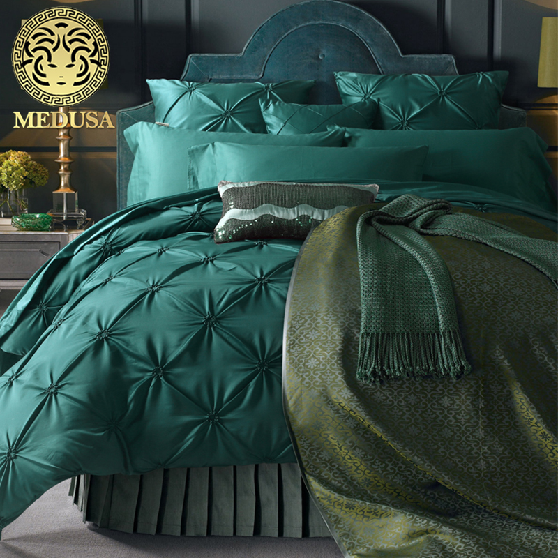 Medusa seta lavata a pieghe fisher netto set biancheria da letto king queen size copripiumino lenzuolo pillow cases 4/6 pz/turchese