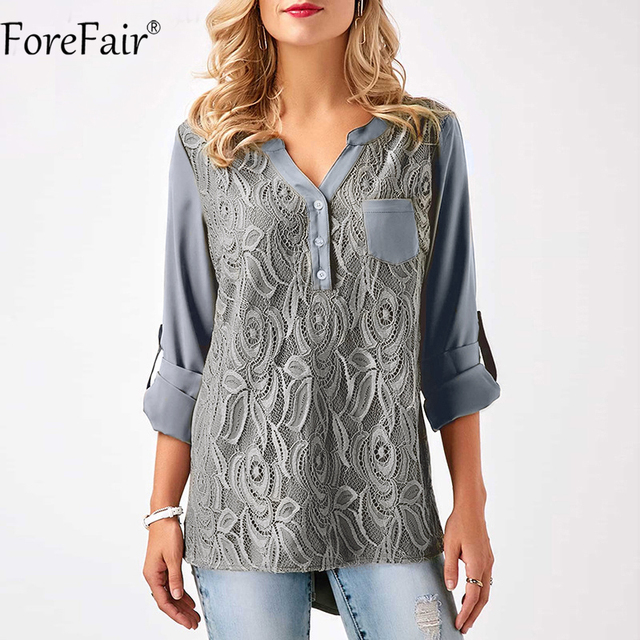 ForeFair S-3XL Women Plus Size Tops Back Chic Button Ruched Style Lace Chiffon Blouse Black Gray Burgundy Casual Lace Shirt