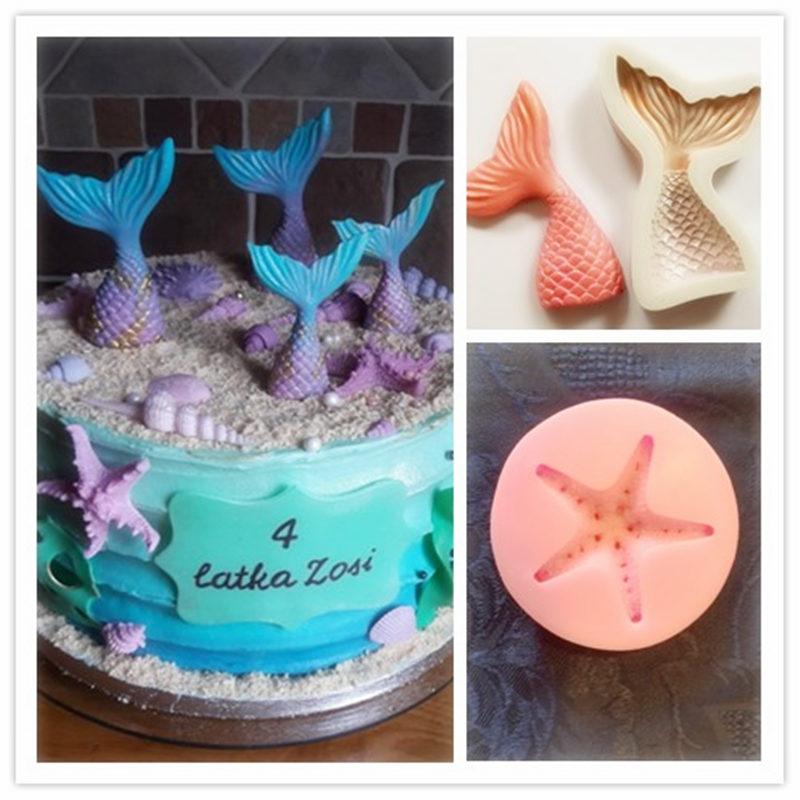 Sea Starfish Shells Fondant Mould Beach Cake Decor Chocolate Kitchen Baking Tool
