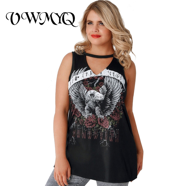 0c1664816535f VWMYQ 2017 Summer Plus Size Women Clothing Sleeveless Top Tee Shirt Femme  Back Hollow Graphic Print Big Size T-shirt 4XL 5XL 6XL