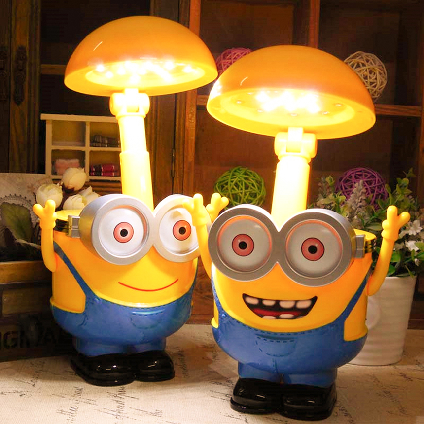LED Rechargeable 3D Minions Night Light Desk Lamp Children Lighting Fold Table Lamps Piggy Bank For Living Room Bedroom Study
