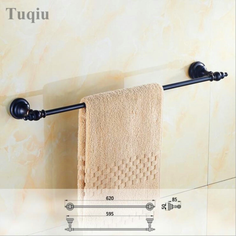 Free Shipping High Quality Black antique wall mounted Towel Bar Towel Holder Bathroom Accessories Single Pole Towel Rack free shipping wall mounted dark antique copperr door stopper for interior doors door holders for sale high suction 360g