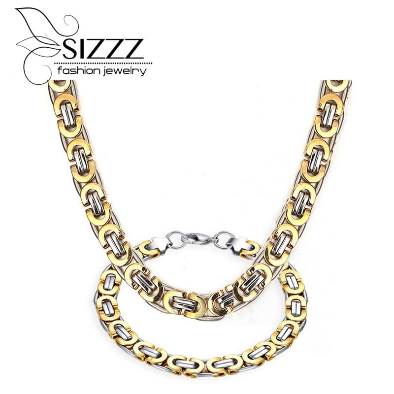 SIZZZ Titanium steel between the arrogance necklace&bracelet set men's jewelry factory direct grant
