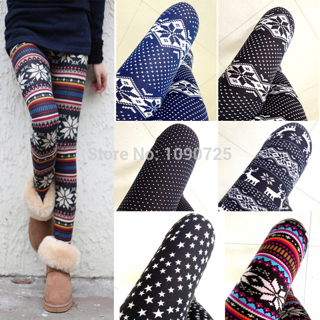 2014 New Hot Womens Nordic Deer Snowflake Knitted Leggings Pants