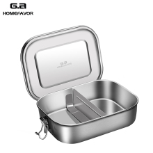 G.a HOMEFAVOR 304 Top Grade Stainless Steel Lunch Box Adjustable Compartments Container Silicone Sealing Bento Accessories