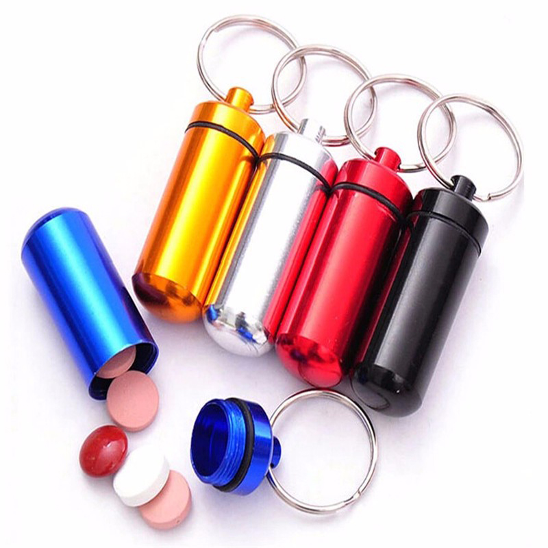 400 pcs/lot Aluminum Medicine Pill Box Case Storage Drug Organizer Keychain Tablet Sundry Container Holder Free Shipping