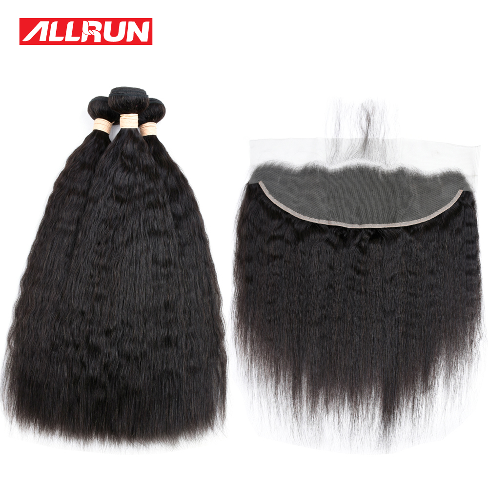 Allrun 3 Pcs Kinky Straight Hair Brazilian Hair Weave Bundles With 13*4 Lace Frontal Closure 100% Human Hair Extensions Non Remy