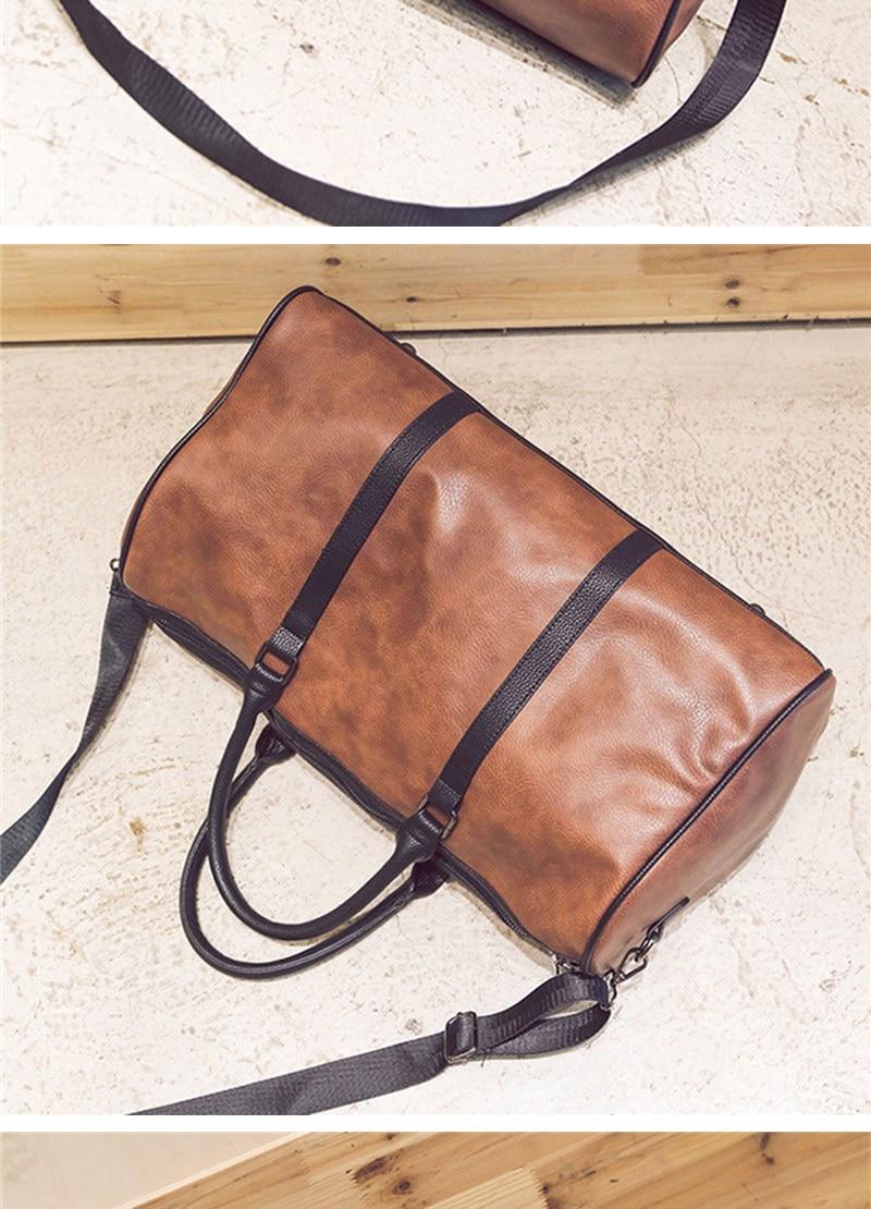 Women Travel Bag High Grade PU Leather Lady Travel Bags High Capacity Black Trip Shoulder Bag Brown Duffle Luggage Bag