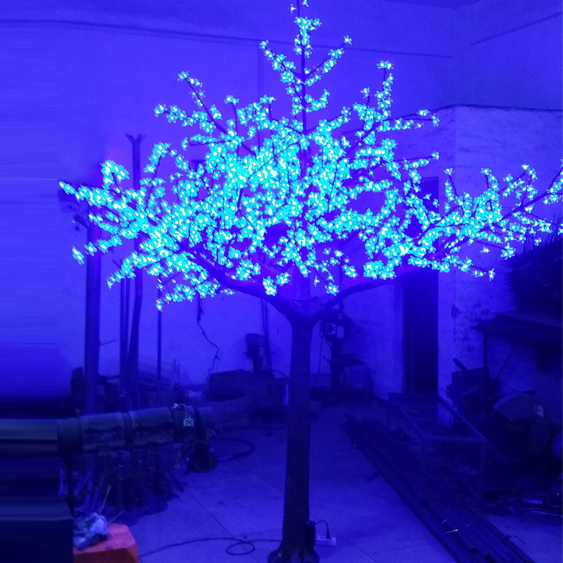 94fc1da6f 3.5Meter 3360leds Red Green Yellow 3Color changing artificial blue cherry  blossom tree light for Christmas outdoor decoration-in Holiday Lighting  from ...