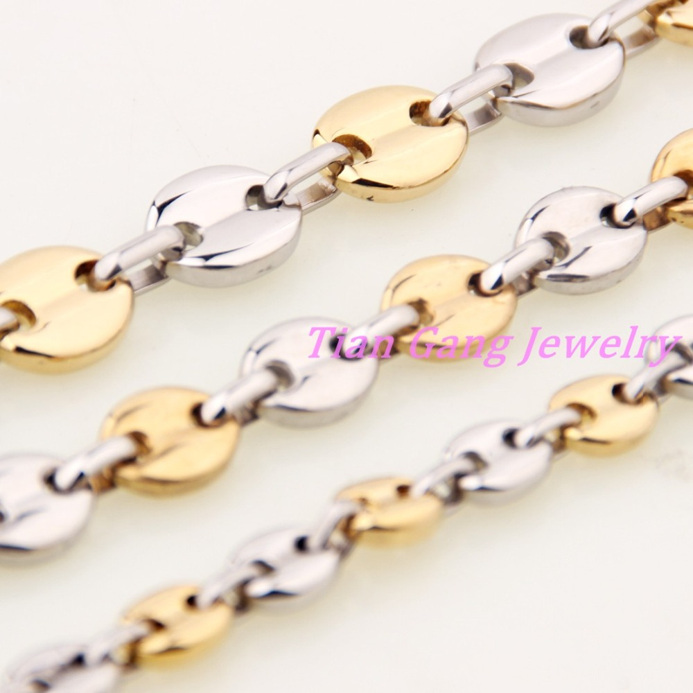 7//9//11mm Stainless Steel Necklace Gold Tone Coffee Beans Link Chain Mens Jewelry,16-40