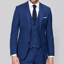 Royal Blue Business Men Suits for Groom Wear Peaked Lapel 3 Piece Wedding Groomsmen Tuxedos Man Jacket Pants Vest