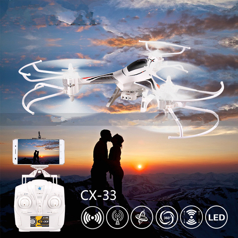Professional rc drone CX-33 2 5.8G FPV 6 Axis Gyro 4CH 2.4G RC quadcopter with 2.0MP Camera Remote Control Helicopter vs X5SW new arrival x39v 2 4g 4ch remote control toys 6 axis gyro rc quadcopter vs wltoys v262 drone 2 0 u818a