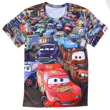 Funny Mens T Shirts Fashion 2016 3D Printed Cute Cartoon Car TShirt Screw Neck Short Sleeve Tees Tops Full Print Big Size S-4XL