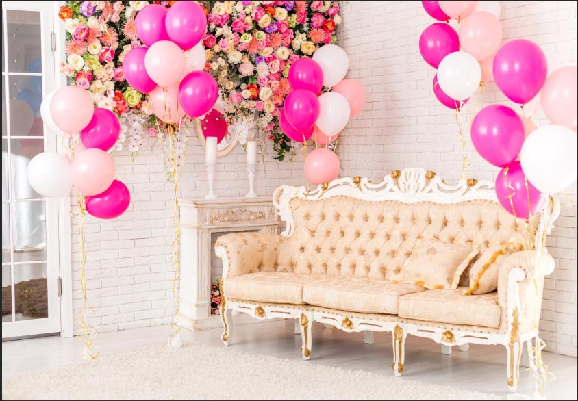 7x5FT Indoor Pink Balloons Flowers Bricks Wall Couch Sofa