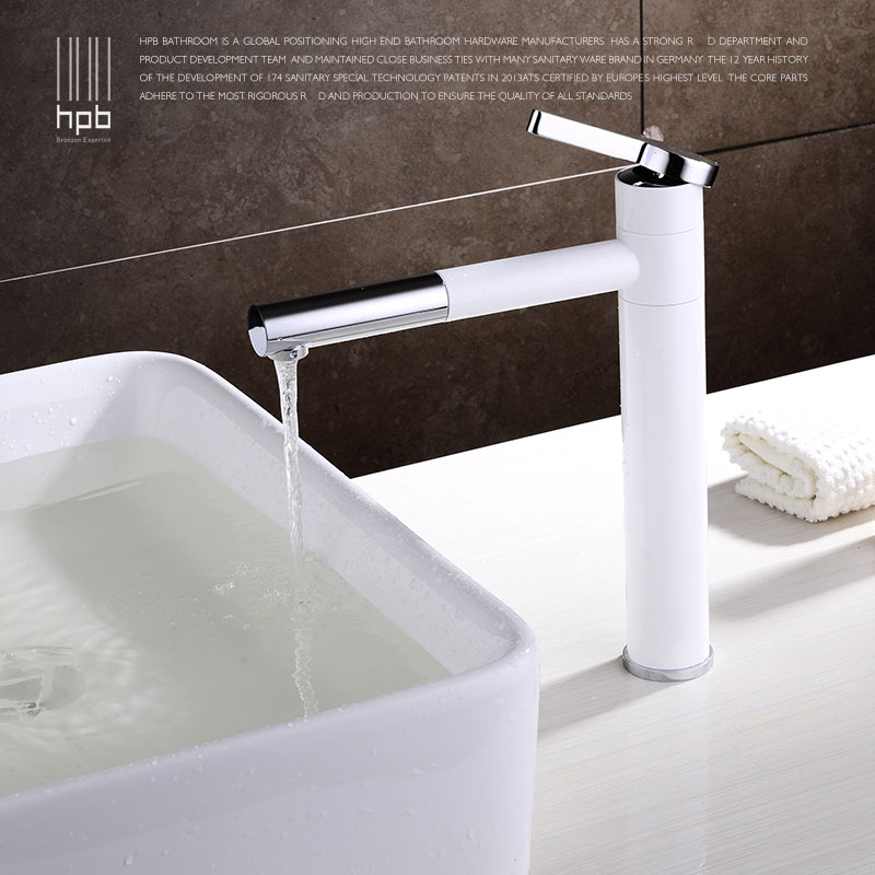 HBP TALL White Bathroom Faucet Lavatory Sink Bar Basin faucet Mixer Tap Rotary Swivel Spout Cold Hot Water tap Fashion Design xueqin black pull out spray kitchen basin sink water faucet mixer tap swivel spout bathroom hot cold water faucet